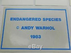 1983 Rare ANDY WARHOL Endangered Species Set 10 Announcement Cards + Sticker