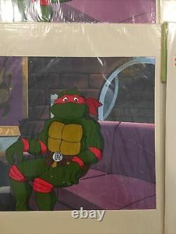 1991 TMNT Cartoon Cel Raphael Set Animation Cel Art Sealed COA RR13