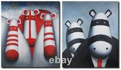 2 Oil Paintings Set Pop Art Cows Animal Modern Decor Wall Art on Canvas