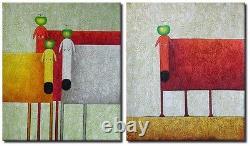 2 Oil Paintings Set Pop Art Sheep Animals Modern Decor Wall Art on Canvas