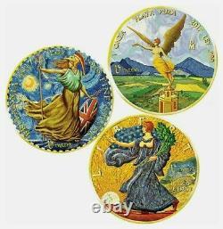 2017 USA, Mexico, United Kingdom OUNCE OF ART VAN GOGH 3 Coins Set