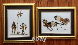 AFRICAN ART- REAL BUTTERFLY WINGS Colorful Set Of 2 FRAMED PICTURES FOLK Rare