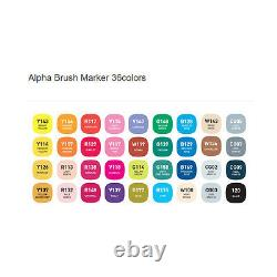 Alpha Brush Marker Twin Tip 36 Color Graphic Art Marker illustration Animation