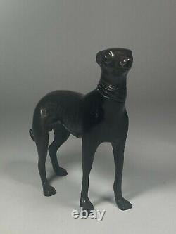 Antique Bronze Greyhounds Whippets Sculptures Set/3 c. 1800s