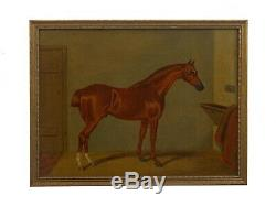 Antique English Horse in Stable Oil Paintings, 19th C, ex. Christies-Set of 7