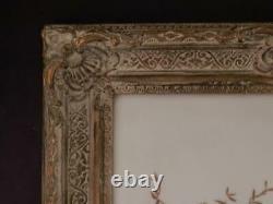 Antique Original Painting on GlassPair of Songbirds in Yard SettingOrig Frame
