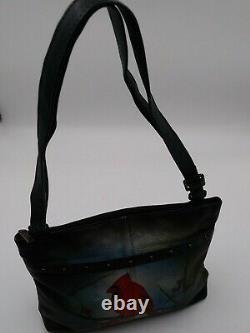 Anuschka Studded Tip Top Set Grey Northern Cardinal Leather Shoulder Bag