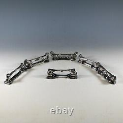 Argit French Silver Art Deco Knife Rests Set 6 Pc, Animals