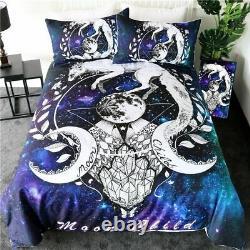 Art Bedding Set White Fox Duvet Cover Galaxy Planet Bedclothes Animal Textiles