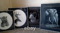 Art-C. B. Buck Mahaney Black & White Framed Animal Prints set of 4