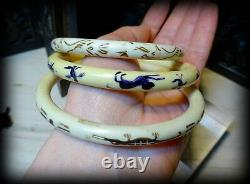 Art Deco Celluloid Painted Animals Birds Flowers Set of 3 Stacking Bangle