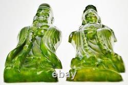 Art Deco Green Ceramic Glazed Asian Figural Wall Art Set of 2
