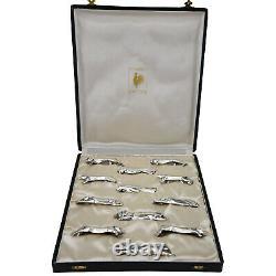Art Deco set of 12 silvered animal knife rests Sandoz for Gallia Christofle 1930