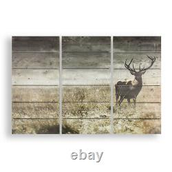 Art for the Home Highland Stag Print on Wood Set of 3 Prints