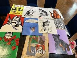 B Kliban 10 Cat Posters 18x24 Set Lot W Envelope Vintage 1970s Art Print1979