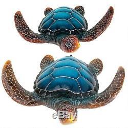 BLUE SEA TURTLE STATUE Tortoise Sculpture Pool Pond Patio Porch Balcony Deck Art
