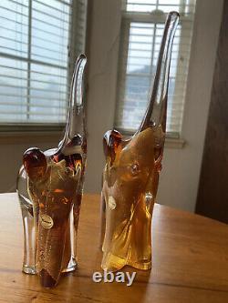 Beautiful Murano Gold Fleck 24k Elephants Set Of 2 Signed Italian Art Glass