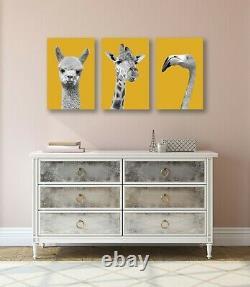Black And White Yellow Mustard Canvas Wall Art Print Artwork Set Giraffe