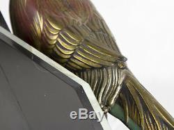C1930 French Art Deco Clock Garniture Set Pheasant on Onyx Bas