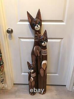 Cats Wood Statue Set 3 Hand Carved Painted Decor Art 40 34 24 ZENDA IMPORTS