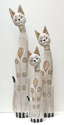 Cats Wood Statue Set of 3 Metal Spring Moving Neck Art 40x34x24 ZENDA IMPORTS