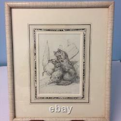 Charming Set Of 4 Sketches By C. B. Southcote Dated 1886 Fox Chasing A Goose