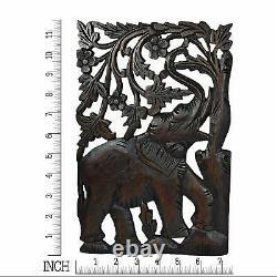 Couple Elephant Hand Carved Wood Wall Art Panel Set Thai Craftman