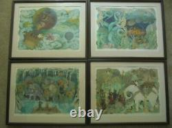 David McCall Johnston Set of 4 Signed Lithograph Coa Amazing color Blues Framed