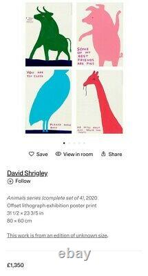 David Shrigley Animal Series Set Of Four Offical Exhibition Posters RARE