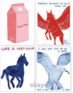David Shrigley Animals Art 2 Four Poster Set Seagull, Pegasus, Truth, Hors