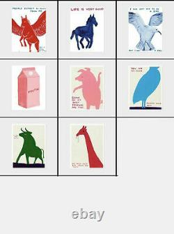 David Shrigley -Full Set Of 8 Exhibition Posters- Animals In Art Rare