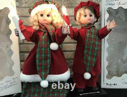 Design Arts 1988 Animated Christmas Figure Boy & Girl Lighted Candle Box Set 2