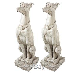 Design Toscano Art Deco Whippet Greyhound Sentinel Dog Statue Set of Two
