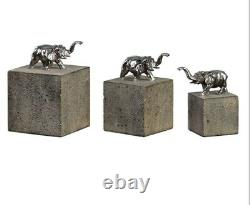 Elephant Figurine Trio Tiberia Set 3 Sculpture Bookend Paperweight Frisch Cubes