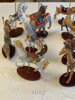 Franklin Mint Treasury of Carousel Art 1988 Set of 12 Animals -NIB without stand