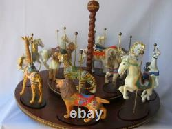 Franklin Mint Treasury of Carousel Art Complete Set of 12 Animal with Display