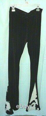 Fur Coat Cropped Jacket & Velvet Pants Set, Black & White Pony Print Faux Fur