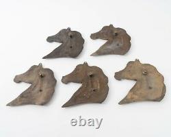 J. Triplett 1972 Horse Head Profiles Set of 5 Wall Art Bronze Plaques Equestrian