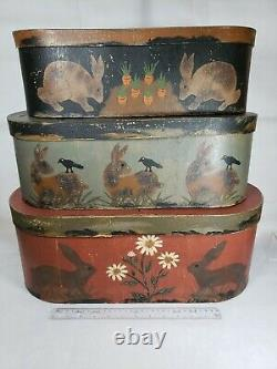 Jeanette McVay Folk Art Tole Hand Painted Set of 3 Nesting Band Boxes Signed