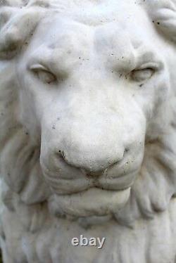 Large Cast Concrete Seated Entry Guardian Lions Statue Sculpture Set of Two
