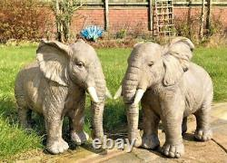 Large Resin Grey Silver Elephant Wild Safari Animal Vivid Arts Garden Ornament