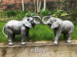 Large Resin Silver/Grey Elephant Wild Safari Animal Vivid Arts Garden Ornament