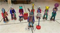 Martin Melchor Angeles Musical Animals Set of 8 Wood Carvings