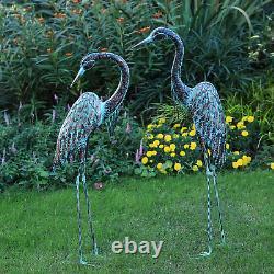 Metal Cranes Garden Statue Art Decor Yard Lawn Outdoor Herons Sculpture Set Of 2