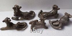 Mexican Folk Art Amatenango Chiapas Handmade Clay Pottery Jaguar Cat Animal Set