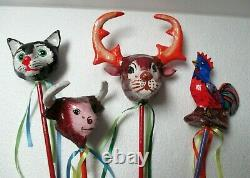 Mexican Folk Art Paper Mache Maraca Rattle Set Rooster Cat Devil Mermaid