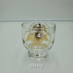Mid Century Modern Barware Eagle Print 8pc Set Whiskey Glasses Tray Ice Bucket