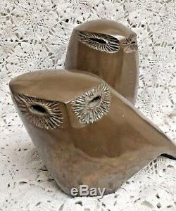 Mid Century Modern Bronze Owl Sculpture Set by Rosemary Wren
