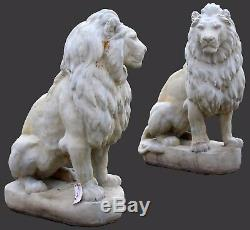 Monumental Cast Concrete Belgian Style Seated Entry Guardian Lions Set of Two