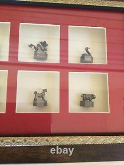 New Chinese twelve Zodiac Animal sculpture Statue Set In glass frame wall art